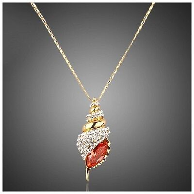 S14 Made Using Swarovski Crystals Conch Seashell Charm Pendant Necklace $87