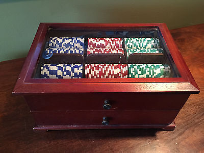 Poker Chip Set in Wooden Box w/ Drawer Glass Lid 2 Decks Cards Dice 12.75 inch
