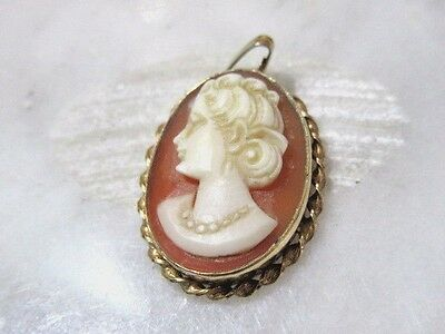 Designer Signed Van Dell 12K Gold Filled Cameo Vintage Small Pendant Fine
