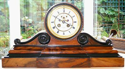 A SUPERB Victorian Ebony & Flame Figured Mahogany Antique French Drumhead Clock
