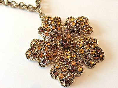 "Vintage Gold Tone Large RHINESTONE Flower Pendant 30"" Long Chain NECKLACE"