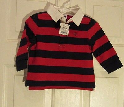 Janie and Jack Boys 6-12 months Navy/Red striped  Rugby shirt long sleeve NWT