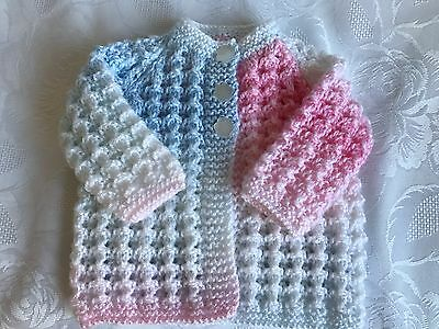 Hand knitted Baby Girl's  Cardigan  fits 0-3 mths 'NEW'
