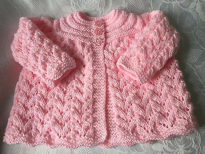 Hand knitted Baby Girl's Pink Shimmer Matinee Cardigan  fits 0-3 mths 'NEW'