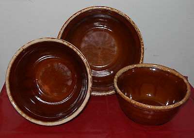 3 VINTAGE Monmouth Hull Oven Proof Brown Drip Nesting Bowls  Maple leaf USA