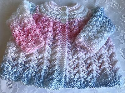 Beautiful Hand knitted Baby Girl's  Matinee Cardigan  fits 0-3 mths 'NEW'