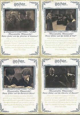Harry Potter Memorable Moments Series 1 4 Card Silver Stamped Promo Set