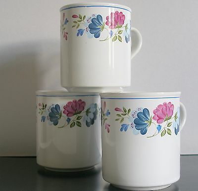 Bhs Priory Mugs X 3 -British Home Stores-Floral White