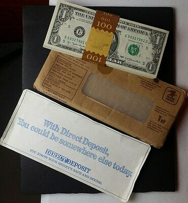 Stack of 100 Sequential 1977 $1 Federal Reserve Notes in Envelope