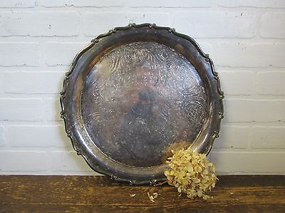 """VTG Silver Plated Serving Plate Butler Tray Etched Heavy Patina Rogers 15"""" Round"""