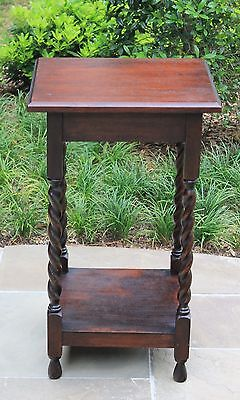 Antique English Oak Square Lift Top 2-Tier Barley Twist End Table Nightstand