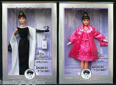 Audrey Hepburn Barbie Doll Breakfast at Tiffany's Givenchy Black Gown Pink Lot 2