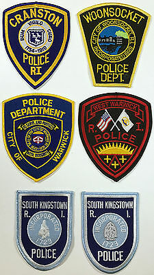 6 RHODE ISLAND RI Police Dept. Patches - Cranston, Woonsocket, Warwick, MORE...!