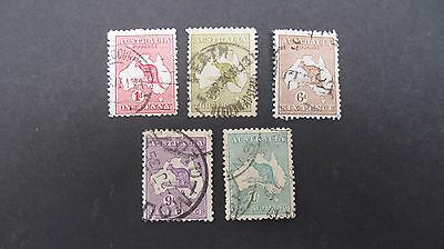 Australia Roos X 5 to 1/- fine used as shown. SG 2, 5, 40, 107,133 cat £26.25