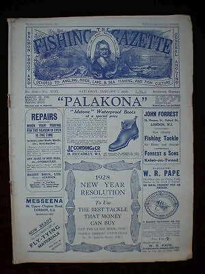 Fishing Gazette . 7th January 1928 . Vintage Newspaper . Rar . Zeitung . angeln