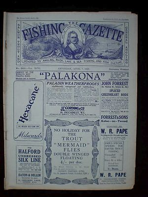 Fishing Gazette . 7th April 1928 . Vintage Newspaper . Rar . Zeitung . angeln