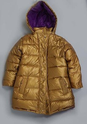 Girl's Appaman Gold Quilted Hooded Puffer Down Jacket Coat Size S