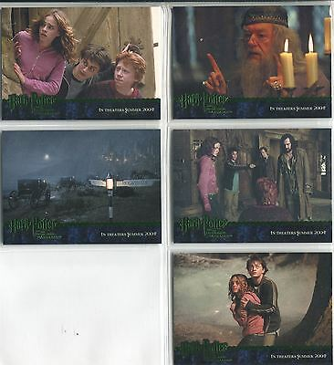 Harry Potter Prisoner Of Azkaban Complete Green Stamped Promo Card Set 1-5