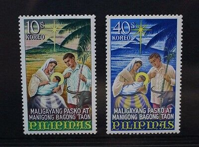 PHILIPPINES 1967 Christmas Holy Family. Set of 2. Mint Never Hinged. SG1057/1058