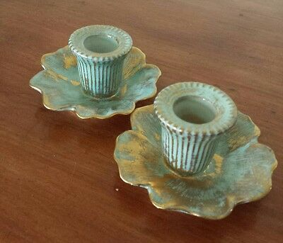 Pair Mid Century Vintage Stangl Pottery Antique Gold Aqua Candlestick Holders
