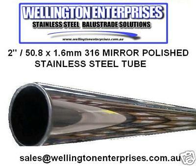 "1/2""  12.7 x 1.6mm 316 STAINLESS STEEL ROUND TUBE MIRROR POLISHED MARINE GRADE"