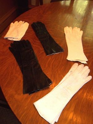 Large Lot of Vintage Leather Gloves *Black & White* Italy