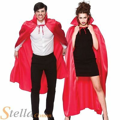 Adult Red Deluxe Satin Cape Halloween Fancy Dress Costume Cape Vampire Outfit