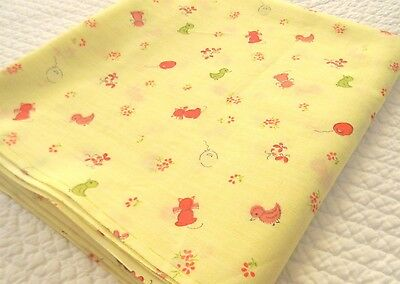 Vtg 2 yds novelty juvenile red cat, green duck, butterfly cotton 60s baby fabric