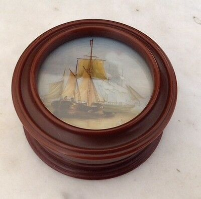 "SNUFF BOX-  ANTIQUE/VINTAGE BROWN BAKELITE with Print Sailing Ship  3.5"" Wide VG"
