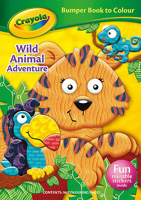 Crayola Bumper Animal Colouring Book Kids Colour Colouring Reusable Sticker Book