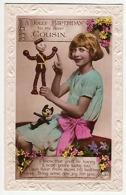 VINTAGE RP POSTCARD,BIRTHDAY,LITTLE GIRL & WOODEN FELIX THE CAT,ROTARY,c1925