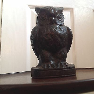 Vintage Cast Iron Owl Door Stop
