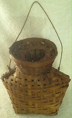 Antique Vintage Woven Reed Creel Fishing Basket