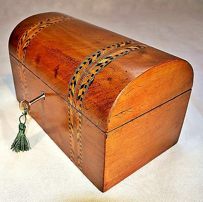 Victorian Dome Top Walnut Tea caddy with Marquetry Decoration & Key