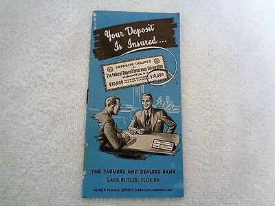 1933 The Farmers And Dealers Bank Lake Butler Florida Deposit Insurance Booklet