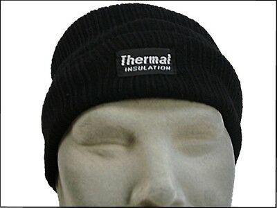 HAT Fleece Lined Knitted Rally Beanie Insulated Ski Thermal Insulation Blk IE