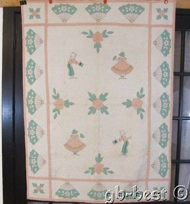 One of a Kind c 1930s Girl Boy FANs Courting Applique CRIB Quilt Vintage