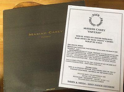 "Mariah Carey - Fantasy - 1995 UK Promo Double Pack 12"" Vinyl With Press Sheets"