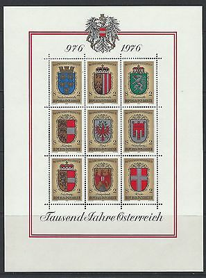 Austria - #1042 - Coat-Of-Arms Full Sheet (1976) Mnh