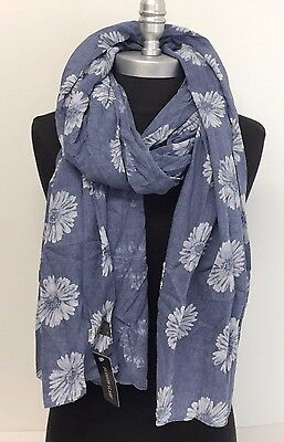 NEW Women's Fashion Soft Floral Print Classic SHAWL Long Scarf Stole WRAP Blue