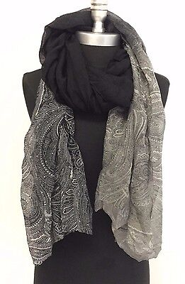 New Fashion Women Printed Chiffon Scarf Wrap Ladies Shawl Long Soft Black/Gray