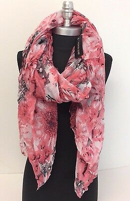 New Chiffon Scarf Floral Print Women's Fashion Style Lady Shawl Girls Stole Pink