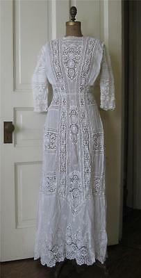 antique Victorian Edwardian WHITE TEA DRESS Wedding LACE Fine Lawn Embroidery S