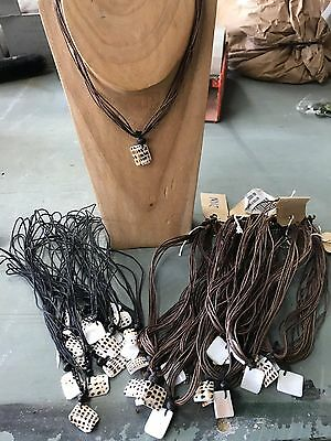 38 x Brown & Black Shell Cord Necklaces, Costume Jewellery Wholesale Job Lot