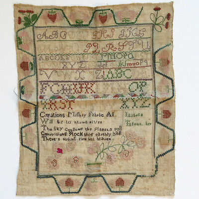 Antique American Sampler Alphabet Letters Flowers Silk & Linen