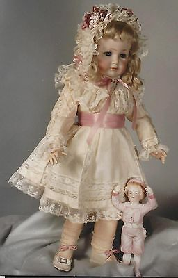 "19-20"" Antique French Doll Dress Heirloom Bonnet Pattern 1897-1899 German Child"