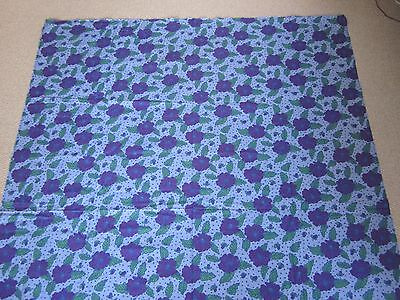 2.7 Meters Purple, Lilac & Green Flower / Floral Cotton Fabric, Clothing Crafts