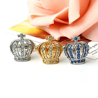 1Pair Crown Crystal Silver Mens Wedding Party gift shirt cufflinks cuff links  j