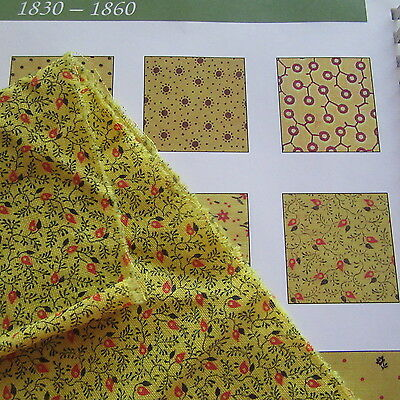 Antique Chrome Yellow Turkey Red Quilt Fabric Cotton Calico 19thC Sm Print