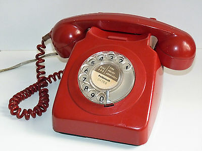 Vintage Red 746F Rotary Telephone - Tested & Working - Needs Cleaning